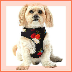 Top Paw Black with Red Blue Cream Fluffy Flowers Print Comfort DOG Harness S