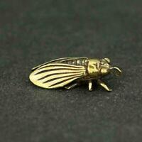 Chinese Brass Cicada Pendant Small Statue China Zodiac Pocket Xmas Present Gifts