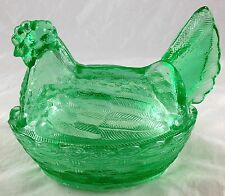 Forest Green Glass Hen on Nest 2 Pc Candy Dish Country Farmhouse Chickens Decor