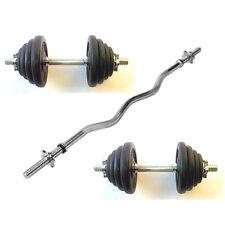 23KG Dumbbells & EZ Curl Bar Set, Spinlock Bars, Iron Weights / Discs / Plates
