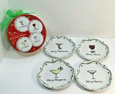 "Whimsy Ware Merry Sloshmas Set Of 4 Christmas Appetizer Plates 6 1/2"" In Box EUC"