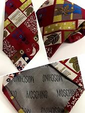 = MOSCHINO = RARE VINTAGE MEN TIE = LEAF & MUSIC = MULTI-COLOUR/RED = SILK=ITALY