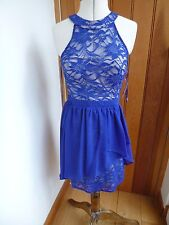 MORGAN SEQUIN LACE ROYAL BLUE MINI GATHERED PROM PARTY COCKTAIL DRESS 7 8 uk xs