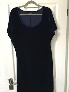 Debenhams Ladies Velvet Blue Long Dress Size 20