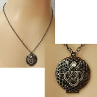 Celtic Knot Necklace Locket Pendant Handmade Pill Box Stash New Gunmetal Black