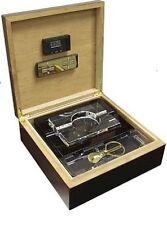 DESK TOP 75  High Gloss Lacquer Ebony Cherry Wood Finish Gift Set Cigar Humidor