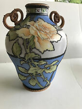 "Antique Handpainted Nippon Jeweled & Moriage Porcelain 8 3/8"" Handled Vase/Roses"