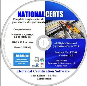18TH EDITION ELECTRICAL CERTIFICATES DISC OR E-MAIL BS7671 GENUINE PRODUCT!