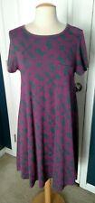LulaRoe Carly Dress, Gray w/Hot Pink Floral Vine, Small