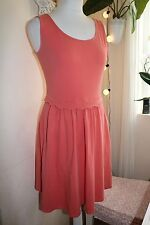 WAREHOUSE - CORAL PINK SOFT ELASTIC COTTON CASUAL SLEEVELESS MINI DRESS - UK 12