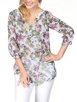 Women's Sizes 14,16,18,20,22 Floral Print Longline 3/4 Sleeve Blouse (b2)