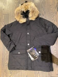 Nobis Herritage Down Parka Jacket  luxury made in  Canada size L Black  MSRP995$