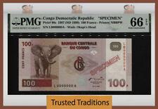 TT PK 90s 1997 CONGO DEM REP 100 FRANCS ELEPHANT SPECIMEN PMG 66 EPQ GEM SCARCE!