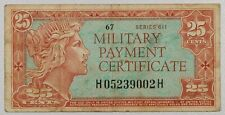 Vintage Vietnam 60s US Military Payment Certificate MPC 25 Cents Note Series 611