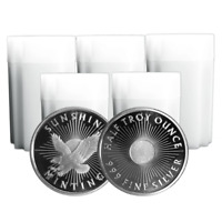 Lot of 100 - 1/2 Troy oz Sunshine Minting .999 Fine Silver Round Mint Mark SI