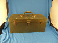 Metal tool fishing box with 6 compartment tray Hamilton Metal Products USA made
