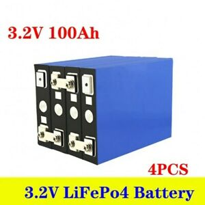 4pcs 3.2v 100ah Lifepo4 Iron Phosphate Solar Cell Electric Car Battery Pack New