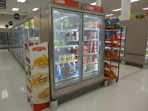 Hussmann RLN-2 ReachIn Glass Display Freezer Cooler Grocery Frozen Ice Cream LED