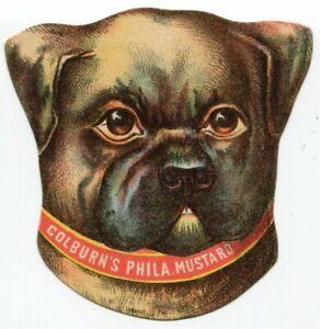 Colburn's Philadelphia Mustard 1882 Die-Cut Pug Dog Trade Card