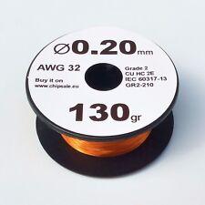 0.2 mm 32 AWG Gauge 130 gr ~460 m (4.5 oz) Coil Enameled Copper Magnet Wire