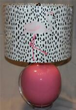 """Max Studio Round Pink Glass 23"""" Table Lamp & Leopard Flamingo Drum Shade Nwt"""