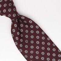 Gladson Mens Wool Silk Necktie Burgundy Gray Silver Polka Dot Weave Woven Tie