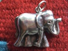 Vintage Sterling Silver Puff Elephant Pendant