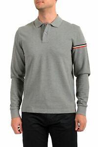 Moncler Men's Gray Long Sleeve Polo Shirt US L IT 52
