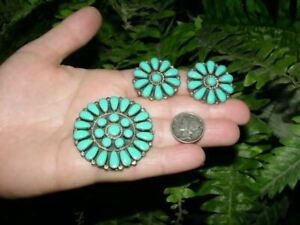 Vintage Sterling silver - TURQUOISE CLUSTER - pin / pendant with clip earrings