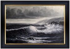 Framed, Quality Hand Painted Oil Painting, Seascape with Seagulls B/W 24x36in