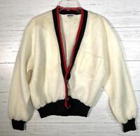 Vintage 50s Sears Roebuck Pilgrim Varsity Cardigan Sweater Striped V Neck Men M