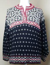 LL Bean wool nordic fair isle sweater size medium black red ski henley