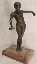 Fine Antique Art Deco Bronze Figure Of A Young Dancer On Marble Base, Detailed