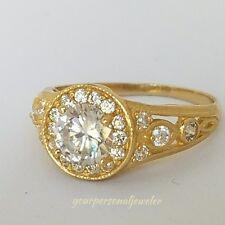 1.45 ct Man Made Diamond Ring 14K yellow Gold halo Round Engagement Ring siz 7