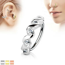 CZ Twisted Ear Cartilage Earrings Daith Tragus Helix Hoop Nose Rings