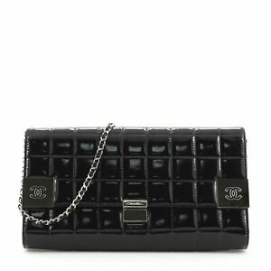 Chanel Chocolate Bar Chain Clutch Quilted Patent