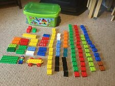Pre Owned  LEGO DUPLO Set of 107 Blocks in Green Box.  #107.