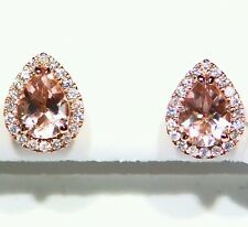 2.18CT 14K Rose Gold Natural Morganite White Diamond Vintage Engagement Earrings