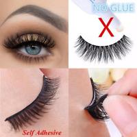 3D Self Adhesive False Eyelashes Extension Reusable Natural Curly Eye Lashes HOT