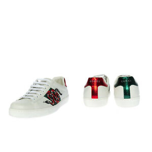 RRP€600 GUCCI Leather Sneakers EU 42 UK 8 US 8.5 Kingsnake Patch Made in Italy