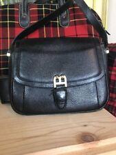 Vintage Bally B Black Pebbled Leather Flap Shoulder Handbag Small Brass Italy