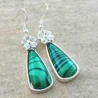 Handmade Malachite Jasper Gemstone 925 Sterling Silver Hook Earrings #E00405