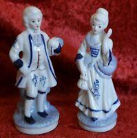 Porzellan 2x Figur Paar Frau Mann Barockkleid Barockform Kleid Mode H 16 cm F-5