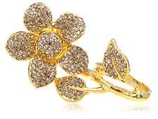 Two Fingers Daisy Golden Tone Topaz Smokey Light Crystal Rhinestone Flower Ring
