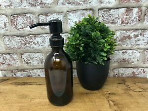 Various Sizes | Amber Glass Dispenser Bottle with different Colour Pump