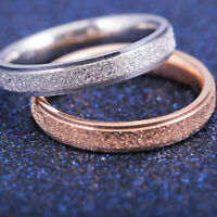 Stainless Steel Rose Gold Silver Frosted Women Men Wedding Band Ring Sz6-10 HS