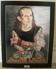 Indian Larry Portrait Ltd Edition Signed Motorcycle Art Print - Painting by J G