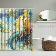 Mermaid Panel Sheer Polyester Fabric Bathroom Shower Curtain Decor Hooks  G