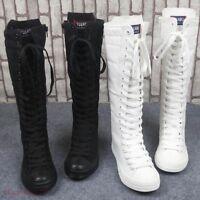 Vogue Women's Canvas Shoes Sneaker Lace Up Zip Knee High Flat Tall Punk Boots