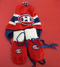 Unisex Hand Made Knit Ensemble Mittens and Beanie Hat ! Montreal Canadiens NHL